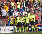 08/08/2015 Sky Bet League 1 Fleetwood Town v Southend United<br /> David Worrall mobbed after scoring Southend United's equaliser