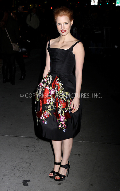 WWW.ACEPIXS.COM . . . . .  ....January 10 2012, New York City....Actress Jessica Chastain arriving at the 2011 National Board of Review Awards gala at Cipriani 42nd Street on January 10, 2012 in New York City.....Please byline: NANCY RIVERA- ACE PICTURES.... *** ***..Ace Pictures, Inc:  ..tel: (212) 243 8787 or (646) 769 0430..e-mail: info@acepixs.com..web: http://www.acepixs.com