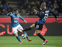 Calcio, Serie A: Inter - Napoli, Milano, stadio Giuseppe Meazza (San Siro), 11 marzo 2018.<br /> Napoli's Dries Mertens (l) in action with Inter's Joao Miranda (r) during the Italian Serie A football match between Inter Milan and Napoli at Giuseppe Meazza (San Siro) stadium, March 11, 2018.<br /> UPDATE IMAGES PRESS/Isabella Bonotto