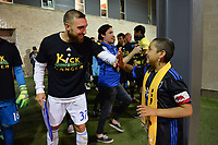 San Jose, CA - Wednesday September 19, 2018: Guram Kashia, Kick Childhood Cancer prior to a Major League Soccer (MLS) match between the San Jose Earthquakes and Atlanta United FC at Avaya Stadium.