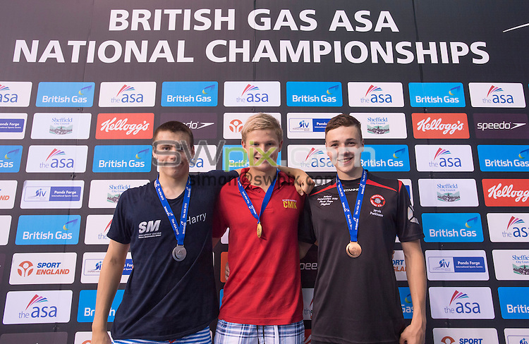 PICTURE BY ALLAN McKENZIE/SWPIX.COM - Swimming - British Gas ASA National Age Group Championships 2013 - Ponds Forge, Sheffield, England - 270713 -  Boy's 14yrs 100m Butterfly Final - (L-R) - Silver - Harry Parker, Gold - Oliver Lines, Bronze - Jarvis Parkinson.
