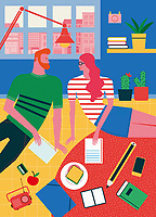 Hipster student couple learning at home ExclusiveImage