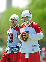 Jun 9, 2008; Tempe, AZ, USA; Arizona Cardinals quarterback (7) Matt Leinart with Kurt Warner during mini camp at the Cardinals practice facility. Mandatory Credit: Mark J. Rebilas-
