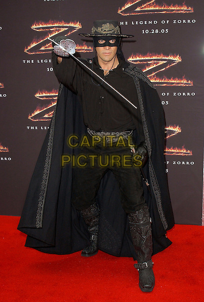 "ZORRO.Los Angeles Premiere of ""The Legend of Zorro"" held at The Orpheum Theatre in Downtown Los Angeles, California. October 16th, 2005.full length costume dress up sword mask.www.capitalpictures.com.sales@capitalpictures.com.Supplied By Capital PIctures"