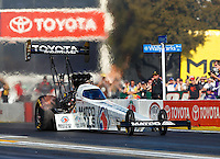 Feb 12, 2017; Pomona, CA, USA; NHRA top fuel driver Antron Brown during the Winternationals at Auto Club Raceway at Pomona. Mandatory Credit: Mark J. Rebilas-USA TODAY Sports