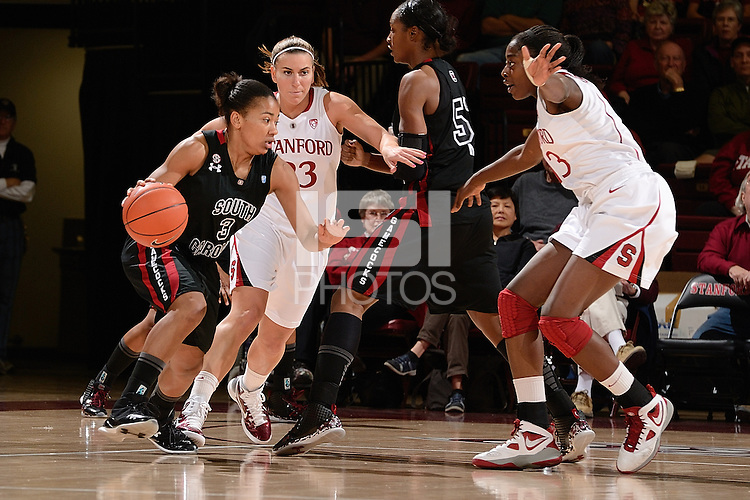 STANFORD, CA - NOVEMBER 26: Stanford women's basketball on defense against the pick in a game against South Carolina on November 26, 2010 at Maples Pavilion in Stanford, California.  Stanford topped South Carolina, 70-32.