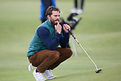 4th October 2017, The Old Course, St Andrews, Scotland; Alfred Dunhill Links Championship, practice round; Actor Jamie Dornan considers his putt on the 17th green during a practice round before the Alfred Dunhill Links Championship on the Old Course, St Andrews