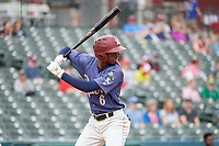 Frisco RoughRiders Brandon Davis (6) bats during a Texas League game against the Midland RockHounds on May 21, 2019 at Dr Pepper Ballpark in Frisco, Texas.  (Mike Augustin/Four Seam Images)