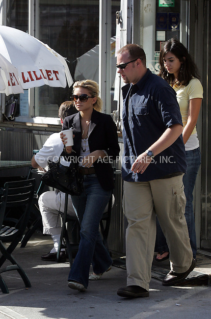 WWW.ACEPIXS.COM . . . . . ..EXCLUSIVE, FEE MUST BE AGREED BEFORE USE. . . . NEW YORK, SEPTEMBER 22, 2004: Ashley Olsen spotted on a shopping spree in West Village with her bodyguard and a friend. Olsen was seen having lunch at R & L Restaurant after which she hit such boutiques as Nusraty Afghan Imports and Geminola. Please byline: BRIAN FLANNERY - ACE PICTURES.. . . . . . ..Ace Pictures, Inc:  ..Alecsey Boldeskul (646) 267-6913 ..Philip Vaughan (646) 769-0430..e-mail: info@acepixs.com..web: http://www.acepixs.com