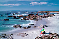 Beach umbrella and beach. 17 Mile Drive, Pebble Beach, California 17 Mile Drive, Pebble Beach, California