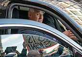 Former adviser to United States President Donald J. Trump, Roger Stone, in his vehicle as he departs the US District Court in Washington, DC following a show cause hearing to explain a photo he posted on Instagram of Judge Amy Berman Jackson with crosshairs next to her head on Thursday, February 21, 2019. Stone subsequently deleted the photo and the post and apologized to Judge Jackson in a letter.<br /> Credit: Ron Sachs / CNP<br /> (RESTRICTION: NO New York or New Jersey Newspapers or newspapers within a 75 mile radius of New York City)