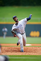 Pensacola Blue Wahoos starting pitcher Amir Garrett (22) delivers a pitch during a game against the Birmingham Barons on May 2, 2016 at Regions Field in Birmingham, Alabama.  Pensacola defeated Birmingham 6-3.  (Mike Janes/Four Seam Images)
