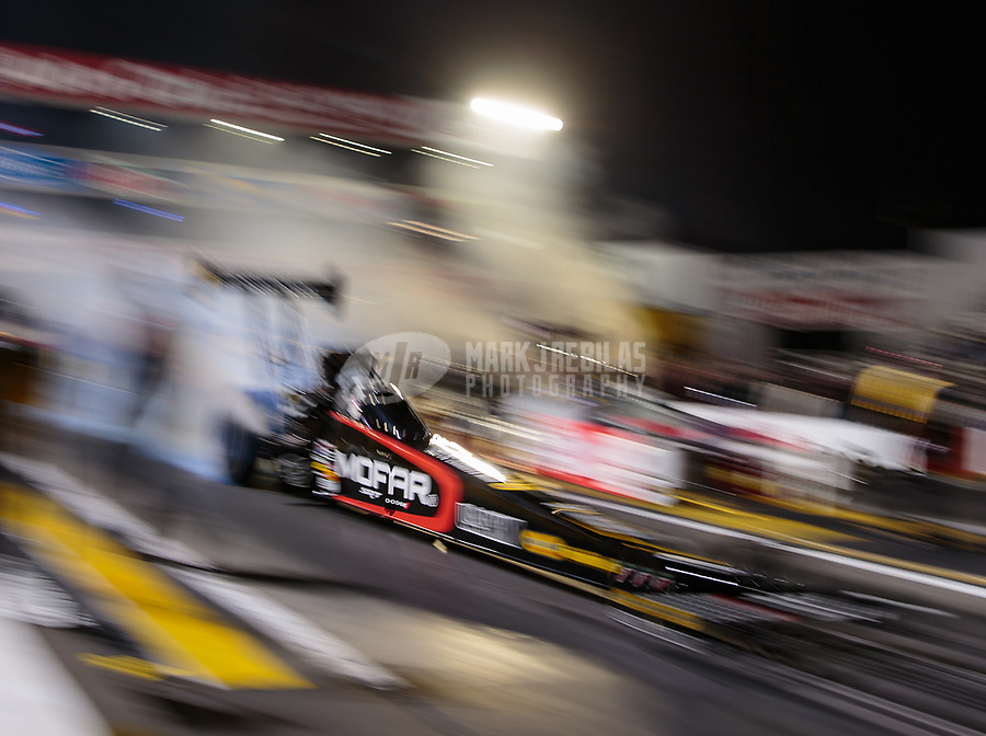 Nov 9, 2018; Pomona, CA, USA; NHRA top fuel driver Leah Pritchett during qualifying for the Auto Club Finals at Auto Club Raceway. Mandatory Credit: Mark J. Rebilas-USA TODAY Sports