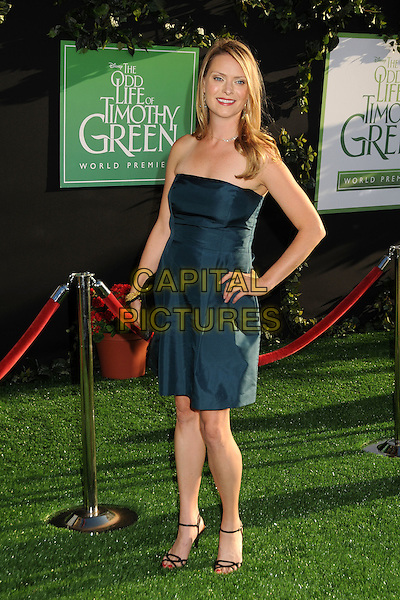 "Dorothy Macdonald.""The Odd Life of Timothy Green"" Los Angeles Premiere, Hollywood, California, USA..August 6th, 2012.full length dress hand on hip green strapless .CAP/ADM/BP.©Byron Purvis/AdMedia/Capital Pictures."
