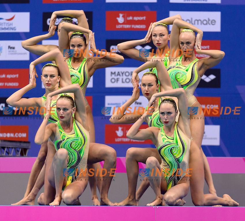 Team UKRAINE UKR Silver Medal <br /> ANANASOVA Lolita, VOLOSHYNA Anna, IUSHKO Daria, GRECHYKHINA Olena, SAVCHUK Anastasiya, SYDORENKO Kseniya, SABADA Oleksandra, SADURSKA Kateryna<br /> Team Technical Final <br /> London, Queen Elizabeth II Olympic Park Pool <br /> LEN 2016 European Aquatics Elite Championships <br /> Synchronized Swimming <br /> Day 01 09-05-2016<br /> Photo Andrea Staccioli/Deepbluemedia/Insidefoto