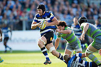 Charlie Ewels of Bath Rugby runs in a try in the second half. Aviva Premiership match, between Bath Rugby and Newcastle Falcons on September 23, 2017 at the Recreation Ground in Bath, England. Photo by: Patrick Khachfe / Onside Images