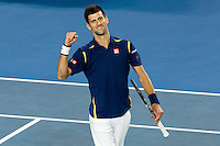 January 31, 2016: Novak Djokovic of Serbia celebrates winning the Men's Final against Andy Murray of United Kingdom on day fourteen of the 2016 Australian Open Grand Slam tennis tournament at Melbourne Park in Melbourne, Australia. Novak Djokovic won 61 75 76. Sydney Low/Cal Sport Media