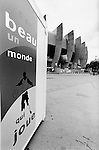 World Cup 1998, France 98<br /> Sign outside Parc des Princes, Paris says 'beau un monde qui joue' 'It's a beautiful world that plays'. (Exact date tbc). Photo by Tony Davis