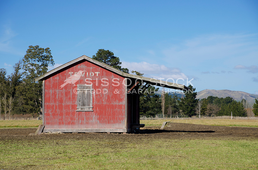 Disused railway station shed at Teviot, South Island