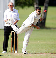 K Jagannathan bowls for South Hampstead during the Middlesex County League Division three game between North London and South Hampstead at Park Road, Crouch End on Sat July 30, 2011
