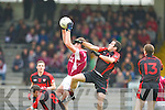 Daniel Curtin Rockchapel grabs the kick out ahead of Aidan Crowley Kenmare during their Munster Club Champiionship semi final in Fitzgerald Stadlium on Sunday
