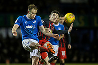 Blackburn Rovers' Darragh Lenihan competing with Portsmouth's Matthew Clarke <br /> <br /> Photographer Andrew Kearns/CameraSport<br /> <br /> The EFL Sky Bet League One - Portsmouth v Blackburn Rovers - Tuesday 13th February 2018 - Fratton Park - Portsmouth<br /> <br /> World Copyright &copy; 2018 CameraSport. All rights reserved. 43 Linden Ave. Countesthorpe. Leicester. England. LE8 5PG - Tel: +44 (0) 116 277 4147 - admin@camerasport.com - www.camerasport.com