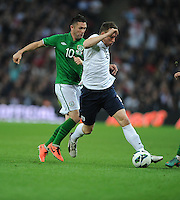 29.05.2013 London, England. Phil Jones, England, in action against Robbie Keane, Republic of Ireland, during the International Friendly between England and Republic of Ireland from Wembley Stadium.