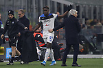 Duvan Zapata of Atalanta salutes head coach Gian Piero Gasperini and the fans as he is substituted for Ruslan Malinovskyi during the Serie A match at Giuseppe Meazza, Milan. Picture date: 11th January 2020. Picture credit should read: Jonathan Moscrop/Sportimage