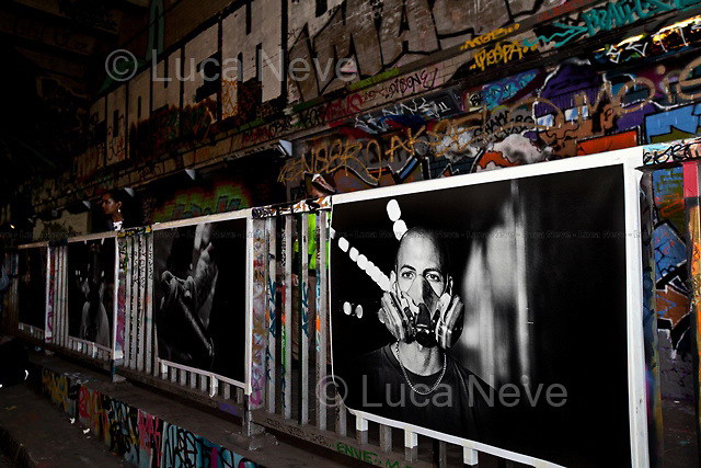 """London, 27/11/2011. """"The Tunnel"""" (Leake Street Tunnel in Waterloo) was the stage of the photographic exhibition """"Writers  - Pictures in a Tunnel"""" by the photographers Brian David Stevens & Marc Vallée."""