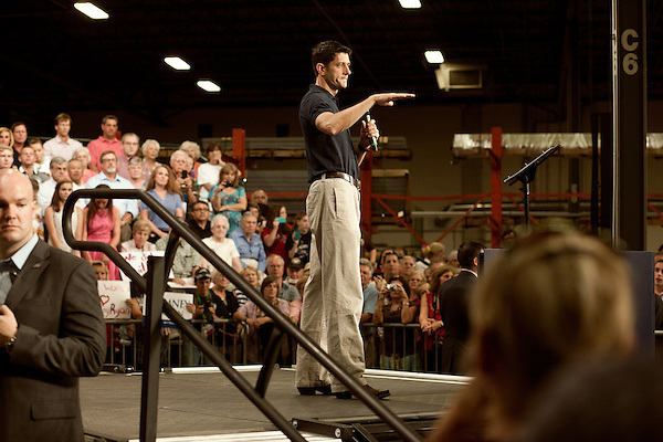 August 22, 2012. Raleigh, North Carolina.. Republican vice presidential candidate Paul Ryan held a campaign rally at SMT, Inc., a metal fabrication factory, where he railed against the Obama economic plan and spelled out how his and Gov. Romney's plans would differ if elected in November.