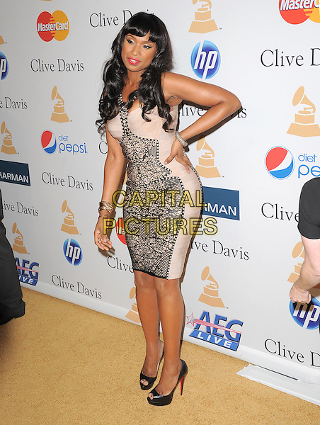 JENNIFER HUDSON .attends the Annual Clive Davis & The Recording Company Pre-Grammy Gala - Salute To Icons held At The Beverly Hilton Hotel, Beverly Hills, California, USA, 12th February 2011..full length black beige nude lace print dress heels peep toe shoes christian louboutin bracelet halterneck  hand on hip .CAP/RKE/DVS.©DVS/RockinExposures/Capital Pictures.