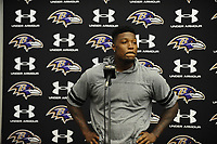 Safety Tony Jefferson addresses the media following the last day of training camp at Under Armour Performance Center in Owings Mills on Tuesday morning.