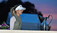 Pernilla Lindberg of Sweden walk by the ANA Inspiration Trophy on her way to the 18th tee for the third playoff hole during the final round of the ANA Inspiration at the Mission Hills Country Club in Palm Desert, California, USA. 4/1/18.<br /> <br /> Picture: Golffile | Bruce Sherwood<br /> <br /> <br /> All photo usage must carry mandatory copyright credit (&copy; Golffile | Bruce Sherwood)