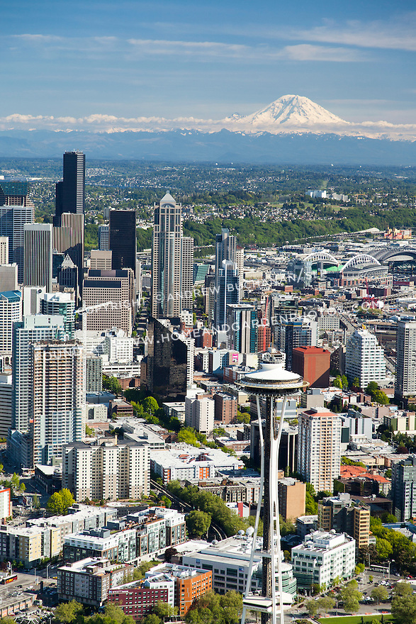 aerial photo of the Seattle skyline with Mount Rainier in the background