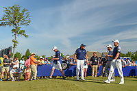 Shane Lowry (IRL), Louis Oosthuizen (RSA), and Padraig Harrington (IRL) head down 1 during Round 3 of the Zurich Classic of New Orl, TPC Louisiana, Avondale, Louisiana, USA. 4/28/2018.<br /> Picture: Golffile | Ken Murray<br /> <br /> <br /> All photo usage must carry mandatory copyright credit (&copy; Golffile | Ken Murray)