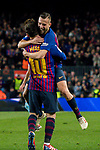 Lionel Andres Messi of FC Barcelona celebrates scoring the goal with teammate Jordi Alba Ramos during the La Liga 2018-19 match between FC Barcelona and RC Celta de Vigo at Camp Nou on 22 December 2018 in Barcelona, Spain. Photo by Vicens Gimenez / Power Sport Images