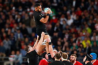 1st November 2019, Tokyo, Japan;  Patrick Tuipulotu (NZL) wins the line-out ball;  2019 Rugby World Cup 3rd place match between New Zealand 40-17 Wales at Tokyo Stadium in Tokyo, Japan.  - Editorial Use