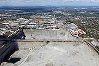 aerial photograph Thorton Quarry, Thorton, Illinois, Chicago skyline in background