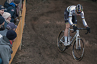 World Champion Wout Van Aert (BEL/Crelan Charles) descending in pursuit of Mathieu Van Der Poel. <br /> <br /> Elite Men's Race<br /> UCI CX World Cup Zolder / Belgium 2017