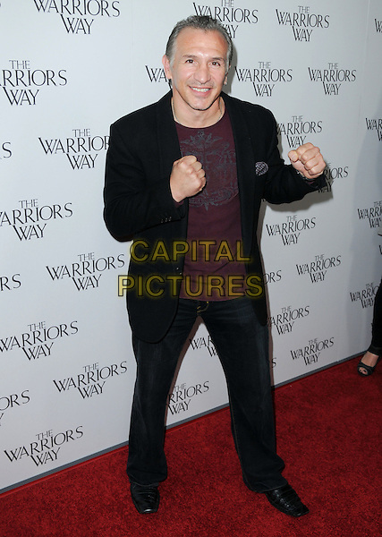 "RAY MANCINI .""The Warriors Way"" Los Angeles Screening held at CGV Cinemas, Beverly Hills, CA, USA, .19th November 2010..full length black suit red maroon t-shirt brown hands fists gesture .CAP/ADM/JS.©Jay Steine/AdMedia/Capital Pictures."