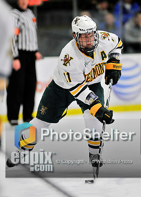 3 December 2011: University of Vermont Catamount forward H.T. Lenz, a Sophomore from Vienna, VA, in action against the University of Maine Black Bears at Gutterson Fieldhouse in Burlington, Vermont. The Catamounts fell to the Black Bears 5-2 in the second game of their 2-game Hockey East weekend series. Mandatory Credit: Ed Wolfstein Photo