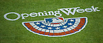 4 April 2014: Opening Week Turf Graphics are freshly painted for the Washington Nationals Home Opening Game at Nationals Park in Washington, DC. The Braves edged out the Nationals 2-1 in their first meeting of the 2014 MLB season. Mandatory Credit: Ed Wolfstein Photo *** RAW (NEF) Image File Available ***
