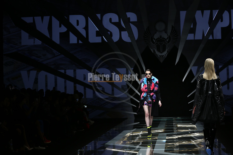 Milan's Fashion Week Men's wear Fall/Winter 2019, in Milan on January 15, 2018. A model walk the runway at the Frankie Morello Fashion Show.