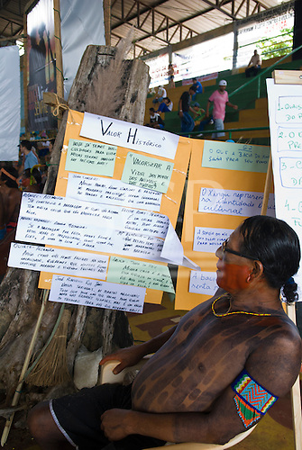 "Altamira, Brazil. ""Xingu Vivo Para Sempre"" protest meeting about the proposed Belo Monte hydroeletric dam and other dams on the Xingu river and its tributaries. Messages from some of the Indian groups."