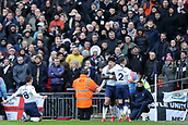 2nd February 2019, Wembley Stadium, London England; EPL Premier League football, Tottenham Hotspur versus Newcastle United; Son Heung-Min of Tottenham Hotspur celebrates with team mates as he scores for 1-0
