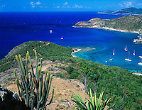 Antigua, West Indies<br /> The mouth of English Harbor and south coast of Antigua from Shirley Heights, Leeward Caribbean Islands