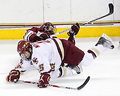 Chris Davis (UMass - 11), Joe Whitney (BC - 15) - The Boston College Eagles defeated the University of Massachusetts-Amherst Minutemen 5-2 on Saturday, March 13, 2010, at Conte Forum in Chestnut Hill, Massachusetts, to sweep their Hockey East Quarterfinals matchup.