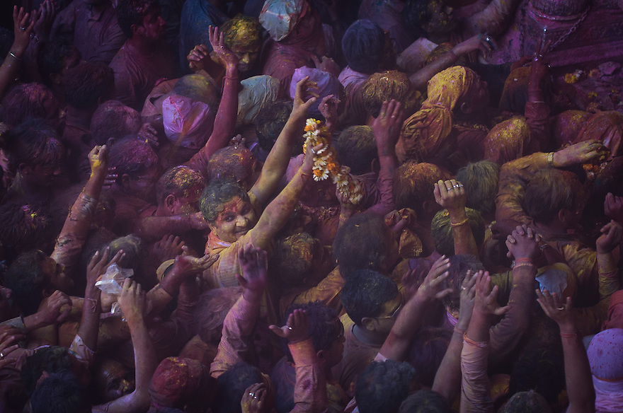 Indian Hindu devotees take part in festivities at the Bankey Bihari temple on the eve of the Holi festival that is culminating on March the 1st. Saturday 28th 2010, Vrindavan,India...Photograph by: Niklas Halle'n/CHI-photo/Rex features