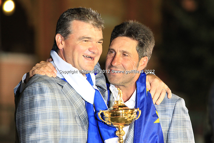 Winning European Team Captain Jose Maria Olazabal (ESP) and Paul Lawrie (SCO) after Sunday's Singles Matches of the 39th Ryder Cup at Medinah Country Club, Chicago, Illinois 30th September 2012 (Photo Colum Watts/www.golffile.ie)