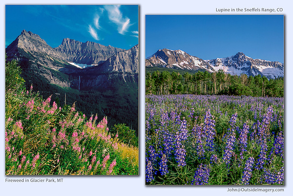 Glacier National Park, Montana (left) and Sneffels Range, Colorado (right) John guides custom photo tours in the Sneffels Range and throughout Colorado.